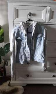Hooded light denim jacket