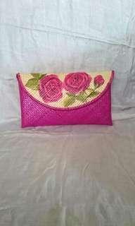 Tas Clutch Anyaman Decoupage Bunga Flower Rose Handmade