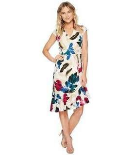 Floral Dress Slanted Hem Dress
