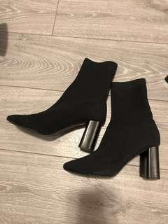 ZARA Fabric High Heel Ankle Boots