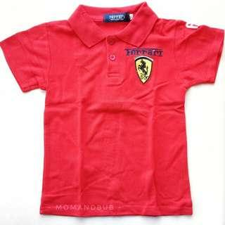 FERRARI F1 COLLARED TSHIRT F1 CAR RACING COSTUME (RED)
