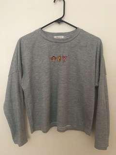 Cropped long sleeve sweatshirt