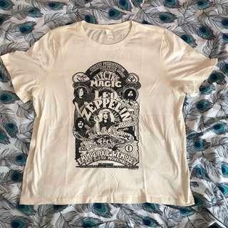H&m 米白色 短袖衫