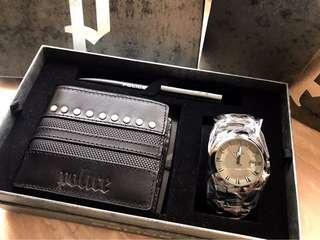 清屋 正品全新 POLICE 銀包 筆 手錶 box set 禮物