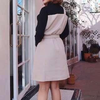 立領拼接不規則洋裝(附腰帶)