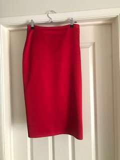 Maticevski - Red Tailored Skirt with white zip detail