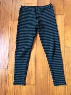 黑灰條紋保暖內搭褲
