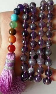 🚚 8mm珠天然紫水晶86顆項鍊