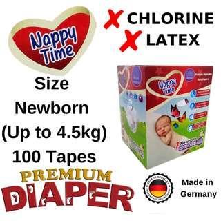 *Sabah Ready Stock* Nappy Time Mega Tape Newborn 100pcs