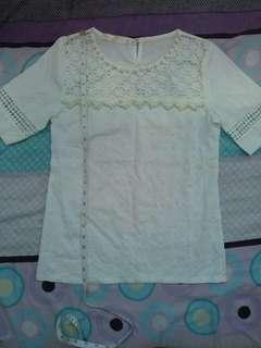 Korean White Pearl Blouse Top