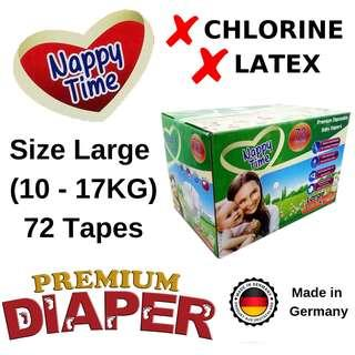 *Sabah Ready Stock* Nappy Time Large Tape 72 pieces