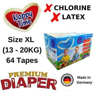 *Sabah Ready Stock* Nappy Time XL Tape 64 pieces