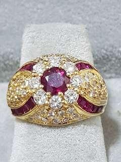 🚚 Gem appraisal report- Ruby and Diamond Ring in 18K Yellow Gold