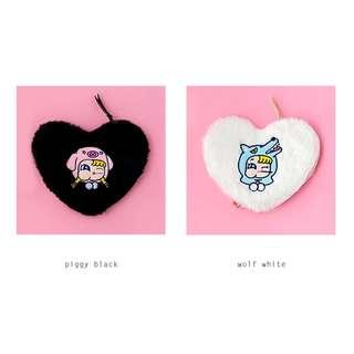 [Instock] Furry Heart Coin Card Pouch By Milkjoy