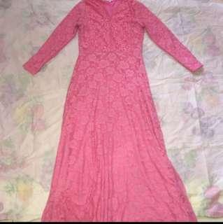 Pink Lace Long Dress