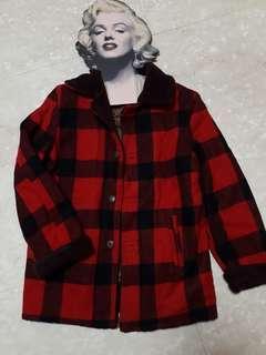 🚚 [二手]日本購入 香港製造 毛呢格紋內鋪綿外套 L尺寸