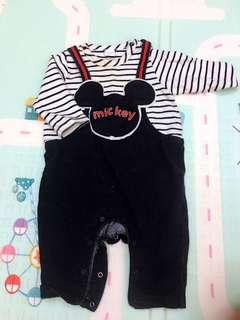 🚚 《6M》麗嬰房 Disney Mickey假兩件連身衣