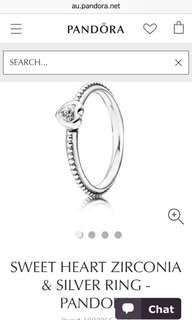 Pandora sweetheart ring size 54