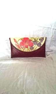 Tas Clutch Anyaman Decoupage Bunga Flower Handmade