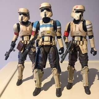 "Set of 3: 6"" Star Wars Rogue One Black Series Scarif Stormtrooper"