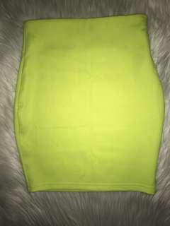 Size XS Neon Yellow Skirt