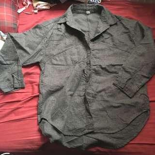 Boyfriend style grey winter shirt 秋冬男友風寬鬆灰色恤衫
