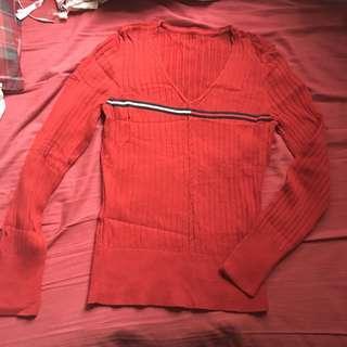 Tommy red knit top 紅色紐紋冷衫