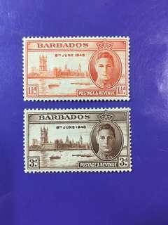 1946 Barbados King George VI Postage & Revenue Mint Stamp Set