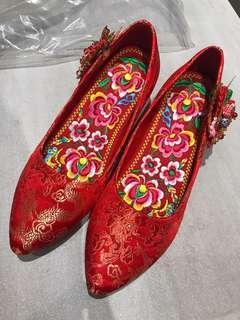 中式褂鞋 結婚繡花鞋