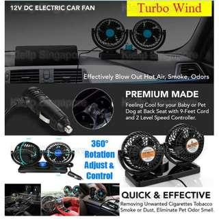 [Kibot]360°Rotation 12V Car Dashboard Turbo Twin Dual Head Cooling Fan with 2 Adjustable Speed for 12 V Vehicle Lorry Van MPV SUV