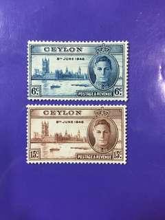 1946 Ceylon King George VI Postage & Revenue Mint Stamp Set