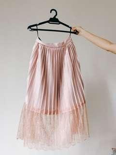 Pink Pleated Lace Skirt DD COLLECTIVE