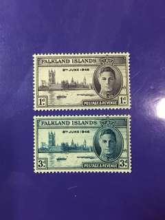 1946 Falkland Islands King George VI Postage & Revenue Mint Stamp Set