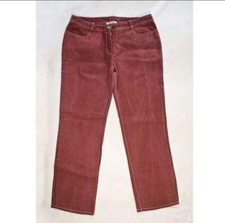 Celine Authentic Women Jeans Rusty Mauve Red Color Size 42 Female 女裝深紅色牛仔褲 正版