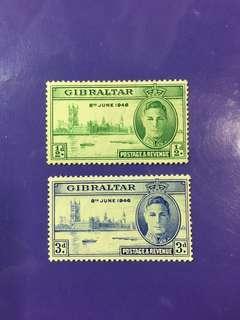 1946 Gibraltar King George VI Postage & Revenue Mint Stamp Set
