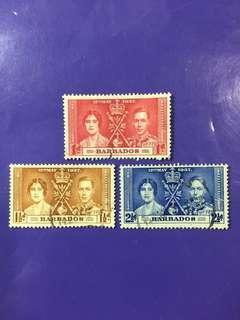 1937 Barbados Coronation King George VI & Queen Elizabeth Used Stamp Set