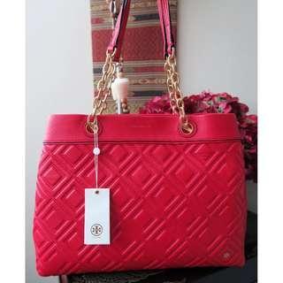 b2b216550b74 Tory Burch Fleming Triple Compartment Large Leather Tote Bag Handbag