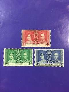 1937 Ceylon Coronation King George & Queen Elizabeth Mint Stamp Set