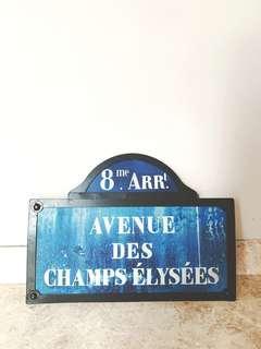 Parisian Metal Sign Champs Elysee