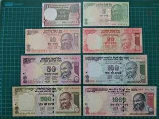 India 1-1000 Rupees UNC 1000 Rupees repeater number