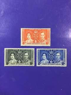 1937 Straits Settlements Malaya Coronation King George & Queen Elizabeth Mint Stamp Set