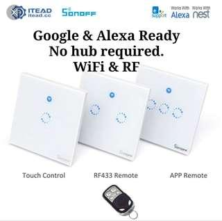 Sonoff smart wall switch Google & Alexa ready, no need hub. (Need beutral wire)