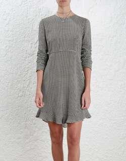 Zimmermann Stranded Frill Shift Dress in Gingham - Size 1/AU 10 RRP $395