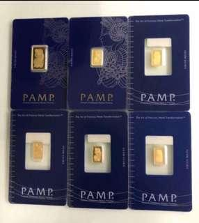 PAMP - Swiss - 1g per bar 💛💙❤️💚🧡💜