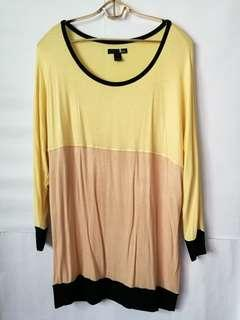 Memo Yellow Color Blocking Long Sleeve Blouse