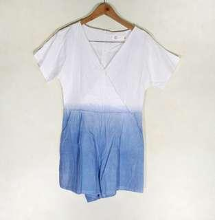 White and Pastel Blue Rompers Playsuit Jumpsuit Romper