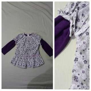 GA106 Purple Floral Baby Blouse 12 to 18 months