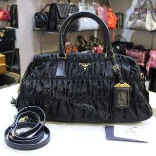 Prada B1407L Tessuto Gaufre Nero Top Handle Bag