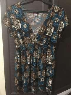 Brown Print Maternity Top, Free Size