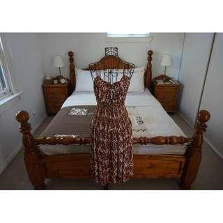 Natasha Cream and Brown Print Three-Way Dress Size XS RRP $280.00
